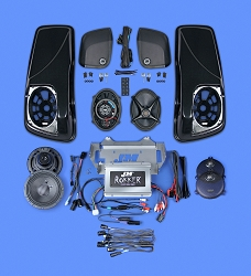 J&M ROKKER® XXR EXTREME 800w 4-Speaker/Amp Kit w/Color-Matched Saddlebag Speaker-Lids for 2014-2021 Harley® StreetGlide