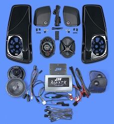J&M ROKKER® Stage5 Custom 800w 4-Speaker/Amp Kit w/Color-Matched Saddlebag Speaker-Lids for 2015-2021 Harley® RoadGlide