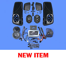 J&M ROKKER® XXR EXTREME 800w 4-Speaker/Amp Kit w/Color-Matched Saddlebag Speaker-Lids for 2015-2020 Harley® RoadGlide