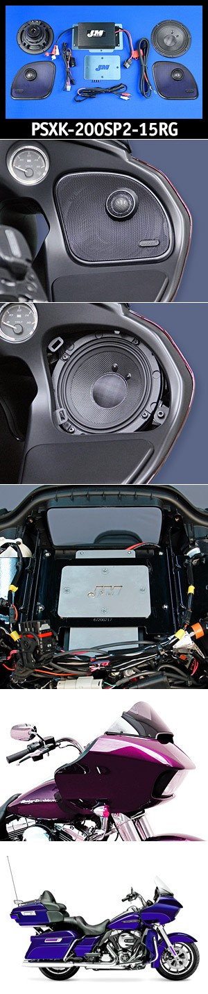J&M Performance Series 200w 2-Speaker/Amplifier Installation Kit for 2015-2020 Harley® RoadGlide/Ultra