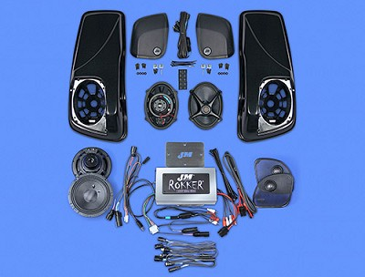 J&M ROKKER® XXR EXTREME 800w 4-Speaker/Amp Kit w/Color-Matched Saddlebag Speaker-Lids for 2014-2020 Harley® StreetGlide